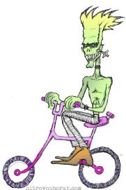 zombie on pink bike